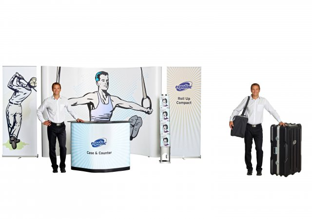 Roll Up Compact, Pop Up 4x3 Case & Counter, Brochure Stand