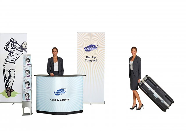 Roll Up Compact, Case & Counter, Brochure Stand