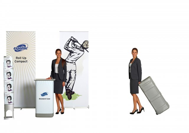 Roll Up Compact, Standard Koffer, Brochure Stand Single
