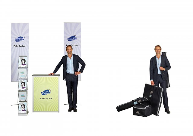 Brochure Stand Double, Pole System, Stand Up Info