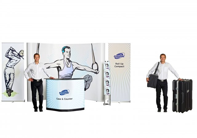 Brochure Stand Single, Pop Up 4x3, Case & Counter, Roll Up Compact